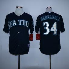 Men Seattle Mariners 34 Hernandez Black MLB Jerseys
