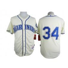 Men Seattle Mariners 34 Hernandez Cream MLB Jerseys