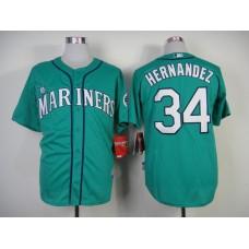 Men Seattle Mariners 34 Hernandez Green MLB Jerseys