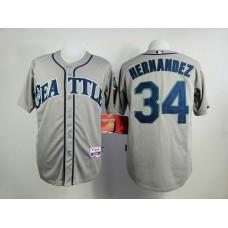 Men Seattle Mariners 34 Hernandez Grey MLB Jerseys