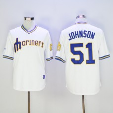Men Seattle Mariners 51 Johnson Whtie Throwback MLB Jerseys
