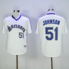 Men Seattle Mariners 51 Johnson Whtie Throwback MLB Jerseys1