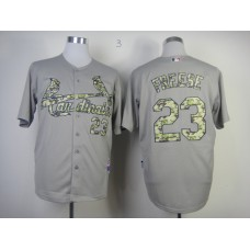 Men St. Louis Cardinals 23 Freese Grey Camo MLB Jerseys