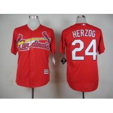 Men St. Louis Cardinals 24 Herzog Red MLB Jerseys