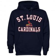 Men St. Louis Cardinals Stitches Fastball Fleece Pullover Hoodie Navy Blue