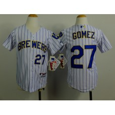 Youth Milwaukee Brewers 27 Gomez White Stripe MLB Jerseys