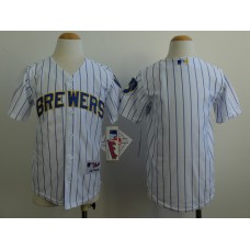 Youth Milwaukee Brewers Blank White stripe MLB Jerseys