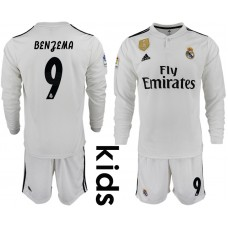 2018_2019 Club Real Madrid home long sleeve Youth 9 soccer jerseys
