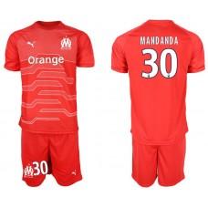 Men 2018-2019 club Olympique de Marseille red goalkeeper 30 Soccer Jerseys