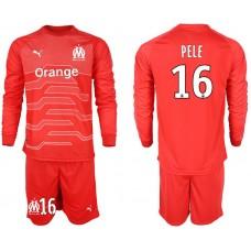 Men 2018-2019 club Olympique de Marseille red goalkeeper long sleeve 16 Soccer Jerseys