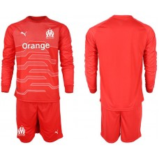 Men 2018-2019 club Olympique de Marseille red goalkeeper long sleeve Soccer Jerseys
