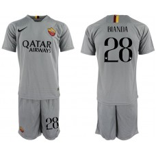 Men 2018-2019 club Rome away 28 grey Soccer Jerseys