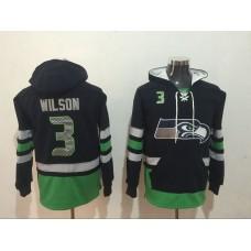 Men NFL Nike Seattle Seahawks 3 Wilson black Sweatshirts
