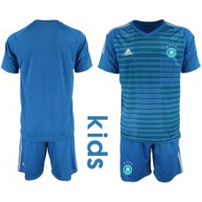 Youth 2018 World Cup Germany blue goalkeeper soccer jersey