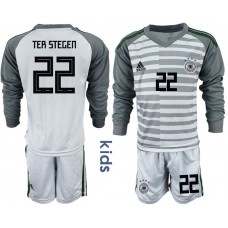 Youth 2018 World Cup Germany gray long sleeve goalkeeper 22 soccer jersey