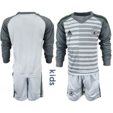 Youth 2018 World Cup Germany gray long sleeve goalkeeper soccer jersey