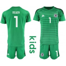 Youth 2018 World Cup Germany green goalkeeper 1 soccer jersey