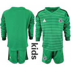 Youth 2018 World Cup Germany green long sleeve goalkeeper soccer jersey
