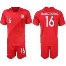 Men 2018 World Cup Poland away 16 red soccer jersey