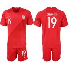 Men 2018 World Cup Poland away 19 red soccer jersey