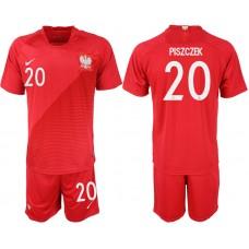 Men 2018 World Cup Poland away 20 red soccer jersey