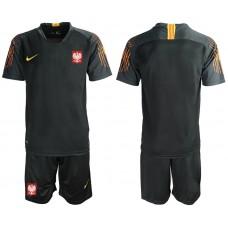 Men 2018 World Cup Poland black goalkeeper soccer jersey