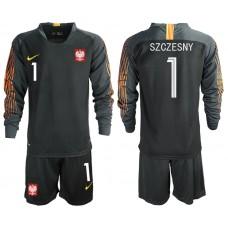 Men 2018 World Cup Poland black long sleeve goalkeeper 1 Soccer Jerseys