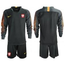 Men 2018 World Cup Poland black long sleeve goalkeeper Soccer Jerseys
