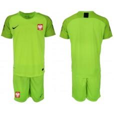 Men 2018 World Cup Poland fluorescent green goalkeeper soccer jersey