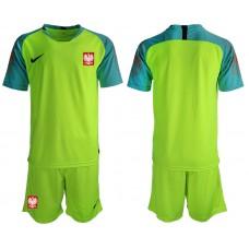 Men 2018 World Cup Poland fluorescent green goalkeeper soccer jersey1