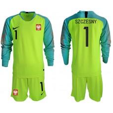 Men 2018 World Cup Poland fluorescent green long sleeve goalkeeper 1 Soccer Jerseys