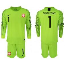 Men 2018 World Cup Poland fluorescent green long sleeve goalkeeper 1 Soccer Jerseys1