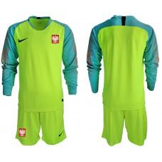 Men 2018 World Cup Poland fluorescent green long sleeve goalkeeper Soccer Jerseys