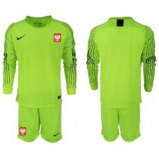 Men 2018 World Cup Poland fluorescent green long sleeve goalkeeper Soccer Jerseys1