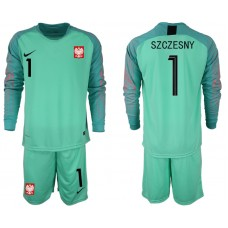 Men 2018 World Cup Poland green goalkeeper long sleeve 1 Soccer Jerseys