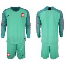 Men 2018 World Cup Poland green goalkeeper long sleeve Soccer Jerseys