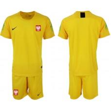Men 2018 World Cup poland yellow goalkeeper soccer jersey