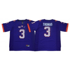 Men Clemson Tigers 3 Thomas Purple Nike Limited Stitched NCAA Jersey