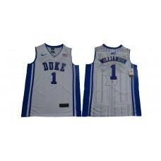 Men Duke Blue Devils 1 Zion Williamson White Nike Limited Stitched NCAA Jersey
