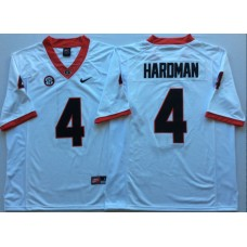 Men Georgia Bulldogs 4 Hardman White Nike NCAA Jerseys