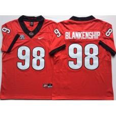 Men Georgia Bulldogs 98 Blankenship Red Nike NCAA Jerseys