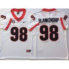 Men Georgia Bulldogs 98 Blankenship White Nike NCAA Jerseys