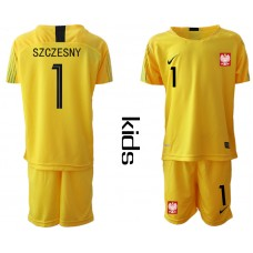 Youth 2018 World Cup Poland yellow goalkeeper 1 Soccer Jerseys