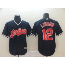 Men Cleveland Indians 12 Lindor Blue Game MLB Jersey