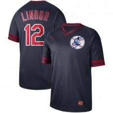 Men Cleveland Indians 12 Lindor Dark blue Nike Cooperstown Collection Legend V-Neck MLB Jersey