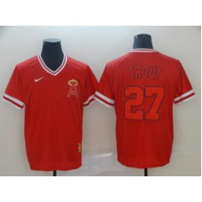 Men Los Angeles Angels 27 Trout Red Nike Cooperstown Collection Legend V-Neck MLB Jersey