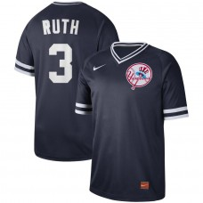Men New York Yankees 3 Ruth Blue Nike Cooperstown Collection Legend V-Neck MLB Jersey