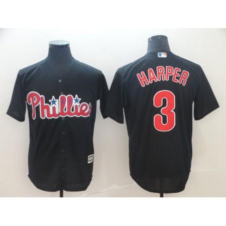 Men Philadelphia Phillies 3 Harper Black Game MLB Jerseys1