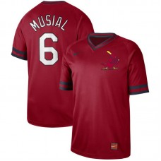 Men St. Louis Cardinals 6 Musial Red Nike Cooperstown Collection Legend V-Neck MLB Jersey