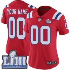 2019 NFL Women Customized New England Patriots Red Vapor Untouchable Super Bowl LIII jersey
